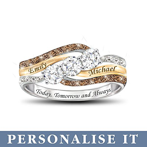 'Today And Always' Personalised Diamond & Topaz Ring