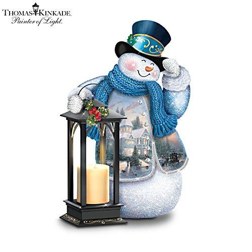 'Holiday Greetings' Tabletop Snowman Lantern