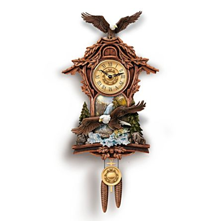 Bald Eagle Birds Sculpted Wall Cuckoo Clock Moments Of