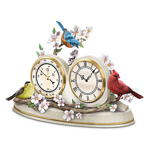 Nature's Timeless Moments' Songbird Desk Clock