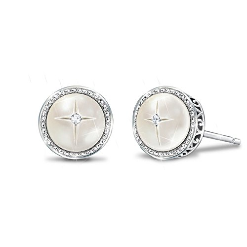 'God's Pearls Of Wisdom' Mother-of-Pearl and Diamond Earrings