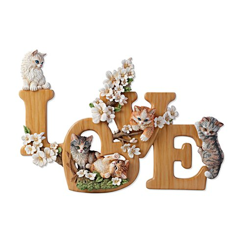 'Purr-Fect Love' Sculptural Cat Wall Décor