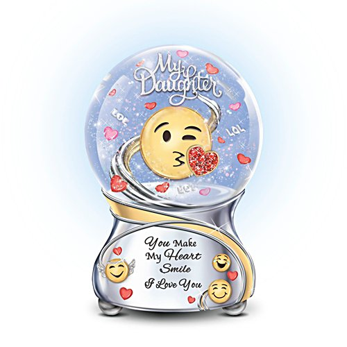 Daughter You Make My Heart Smile' Musical Emoji Glitter Globe