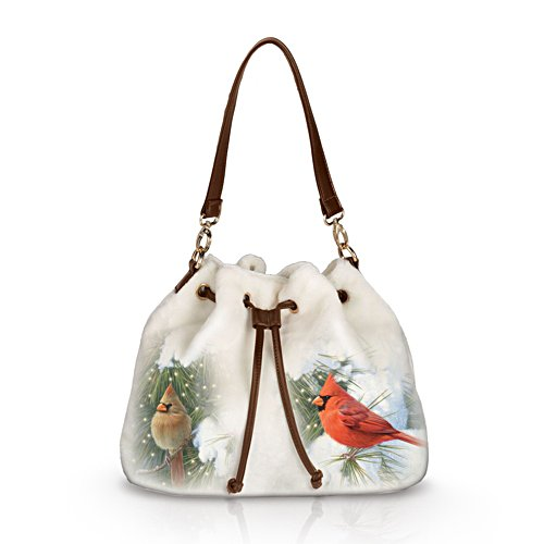 'Cardinals In Winter' Songbird Fleece Handbag