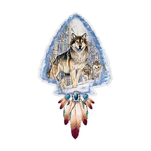 'Mystic Spirit' Wolf Illuminated Arrowhead Wall Décor