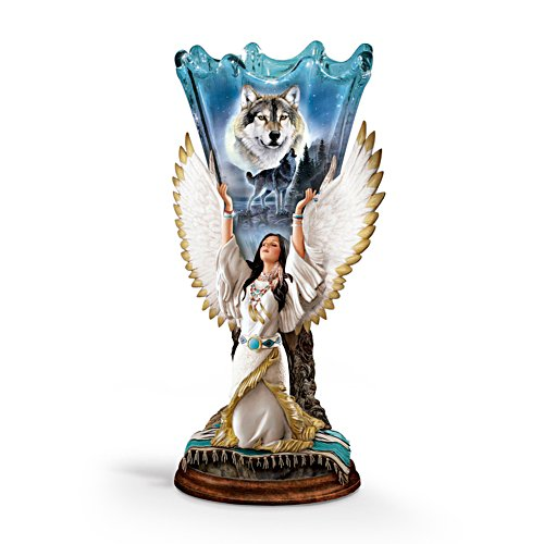 Al Agnew 'Moonlit Dreams' Wolf Torchiere Lamp