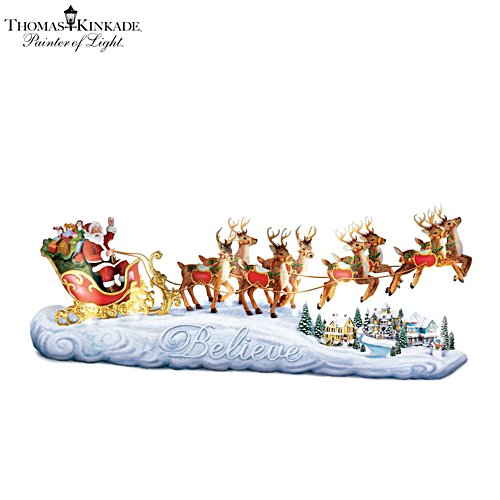 Thomas Kinkade 'Believe In Holiday Magic' Sleigh Sculpture