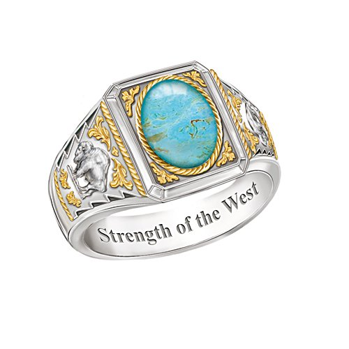 'Strength Of The West' Men's Turquoise Ring