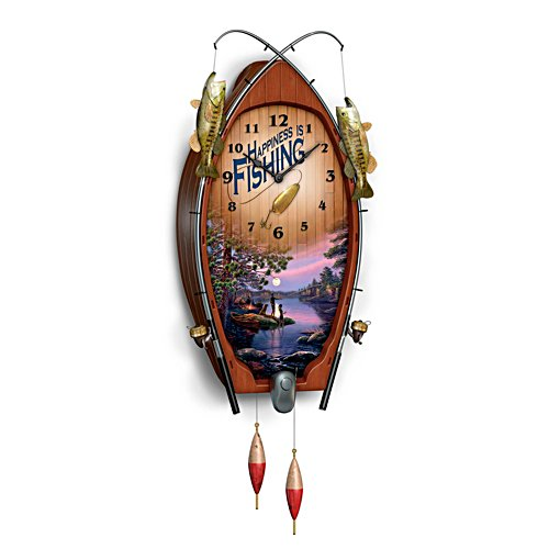 James Meger 'Lakeside Memories' Fishing Wall Clock