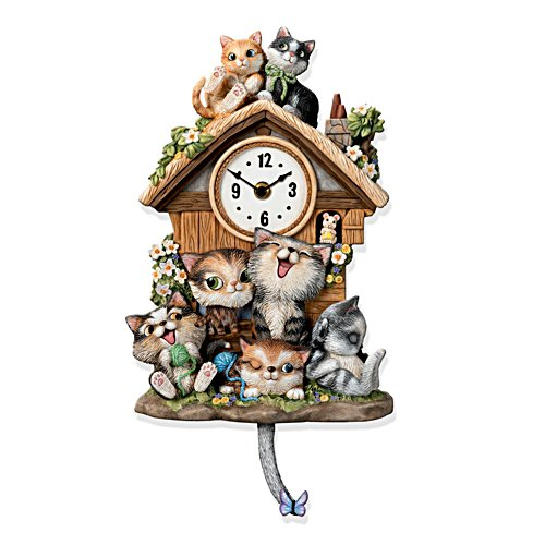 'Frolicking Felines' Illuminated Musical Wall Clock