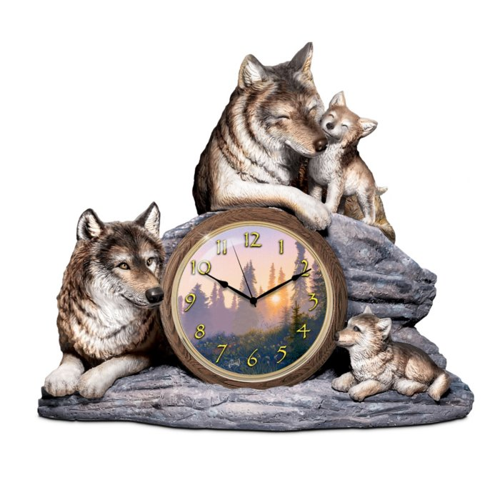 'Bonds Of Love' Wolf Desk Clock