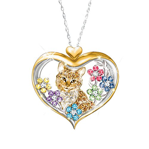 'The Purr-fect Garden' Cat Ladies' Pendant With Crystals