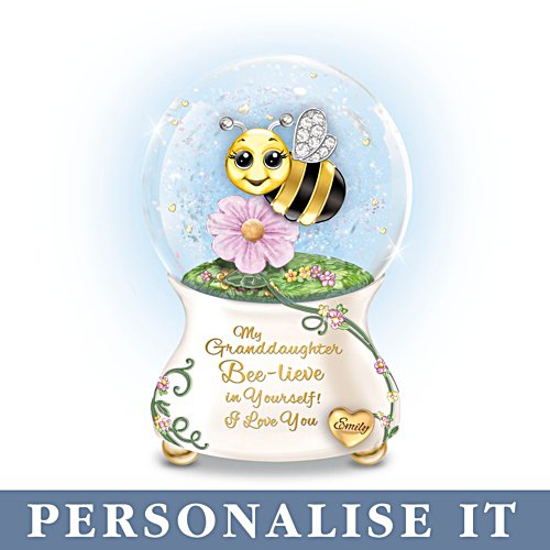 'Granddaughter, I Bee-lieve In You' Personalised Musical Glitter Globe