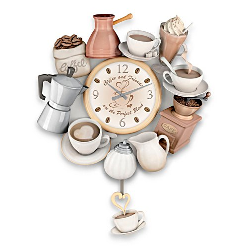 'The Perfect Blend' Sculptural Wall Clock With Cup Pendulum