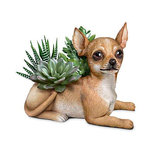 Chihuahua-Gärtner — Handbemalte Hundeskulptur