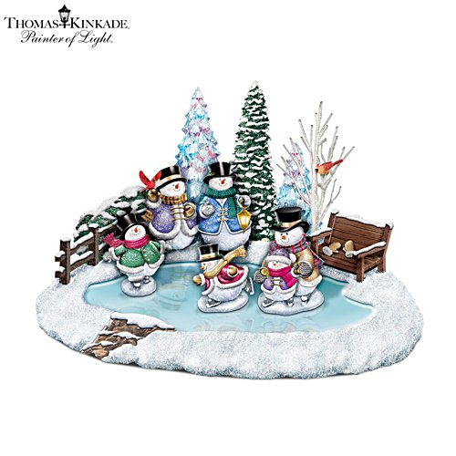 Thomas Kinkade 'Winter Wonderland' Snowman Skating Pond