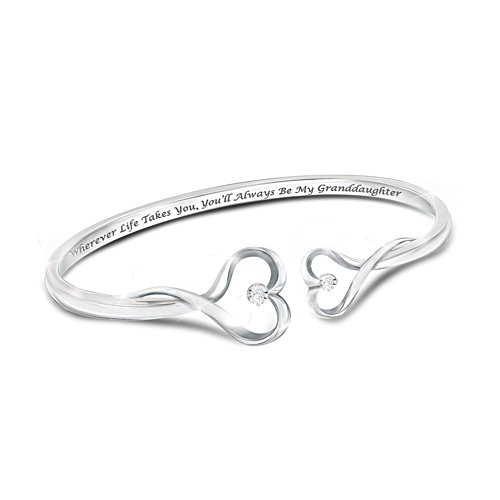 'Always My Granddaughter' Heart-Shaped Diamond Bracelet