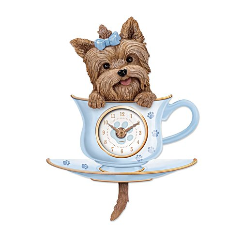 'Yorkie Pup In A Cup' Wagging Tail Wall Clock