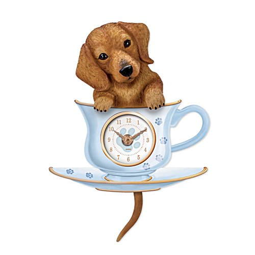 'Dachshund Pup In A Cup' Wagging Tail Wall Clock