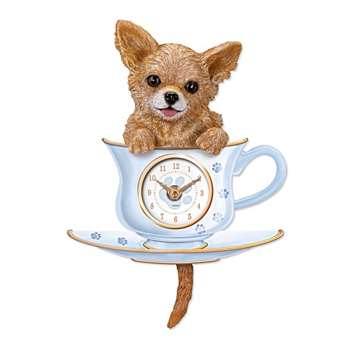 'Chihuahua Pup In A Cup' Wagging Tail Wall Clock