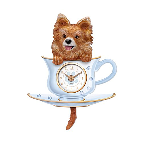 'Pomeranian Pup In A Cup' Wagging Tail Wall Clock