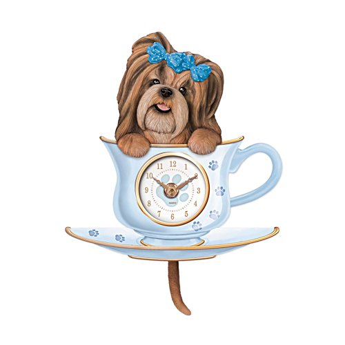 'Pug Pup In A Cup' Wagging Tail Wall Clock