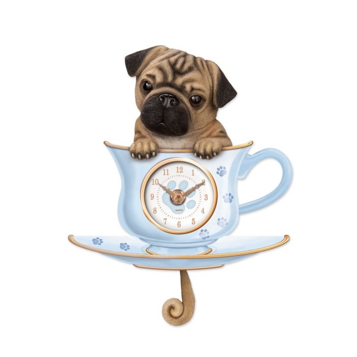 'Shih Tzu Pup In A Cup' Wagging Tail Wall Clock
