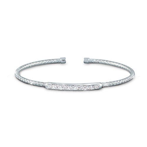 'Sparkling Elegance' Charles Garnier Weave Silver Bracelet