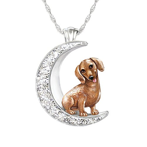 'I Love My Dachshund To The Moon And Back' Ladies' Pendant