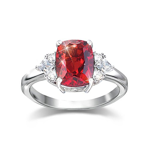 'Rare Wonder' Red Helenite And White Topaz Ring