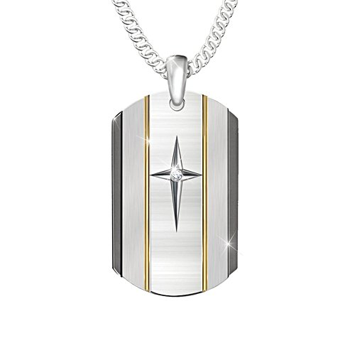 'God Is Near' Son White Sapphire Dog Tag Necklace