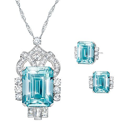 'Aqua Majesty' Diamonesk® Pendant & Earrings Set