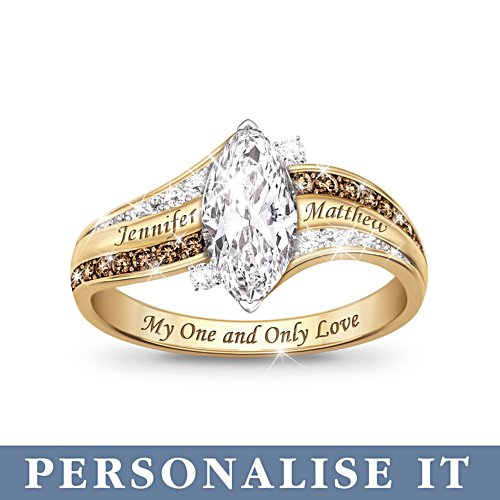 'My One And Only Love' Personalised Topaz and Diamond Ring