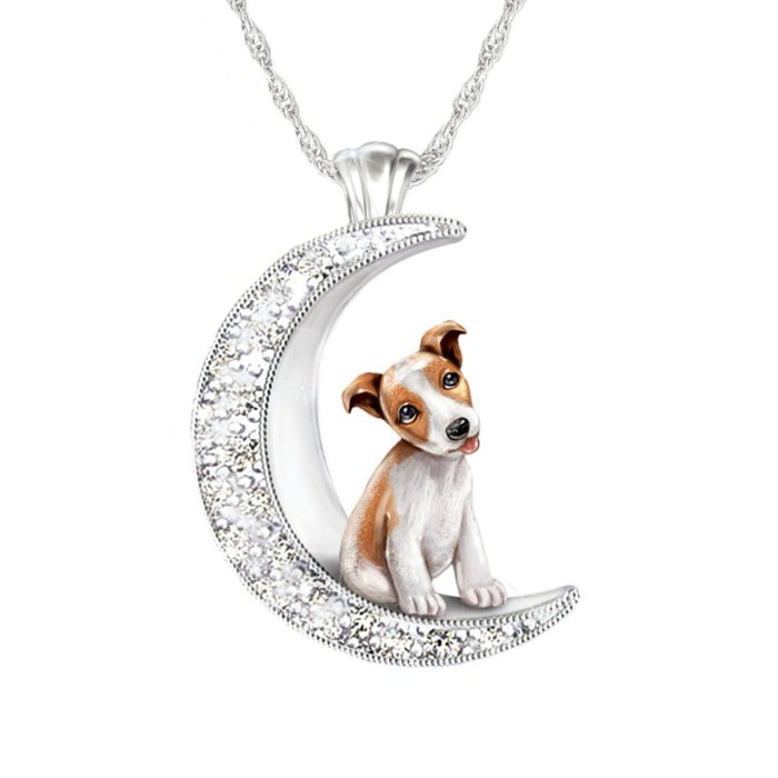 With Sterling Silver-Plated Moon-Shaped Pendant Crystals Exclusive To The Bradford Exchange I Love My Yorkie To The Moon And Back Ladies Pendant Engraved Sentiment