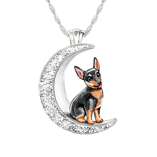 'I Love My Mini Pinscher To The Moon And Back' Ladies' Pendant