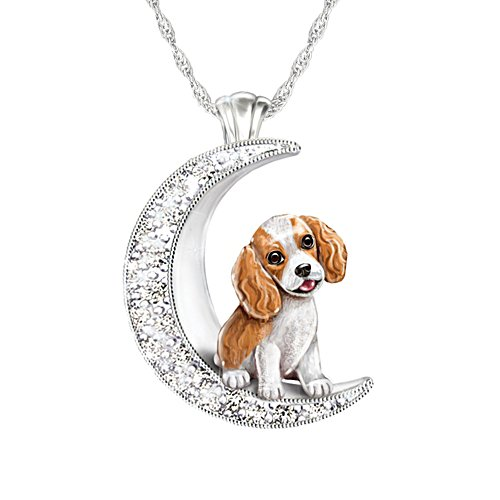 'I Love My King Charles Spaniel To The Moon And Back' Ladies' Pendant