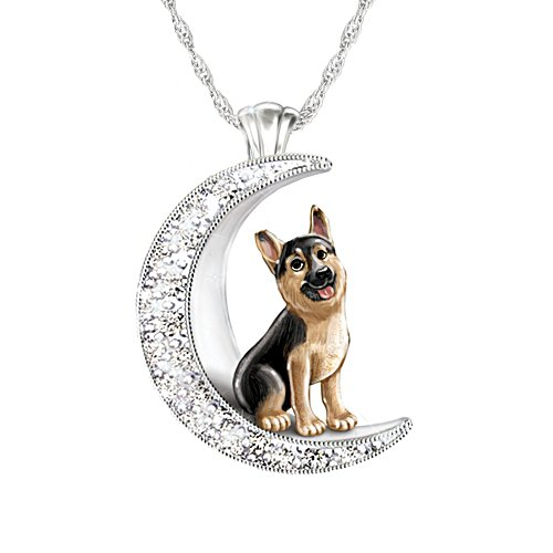 'I Love My German Shepherd To The Moon And Back' Ladies' Pendant