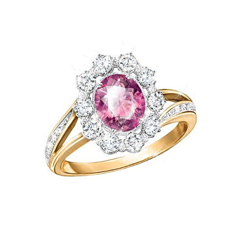 'Pink Majesty' Diamonesk® Simulated Pink Sapphire Ring