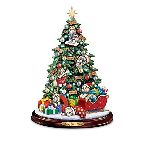Shih Tzu Christmas Illuminated Tabletop Tree