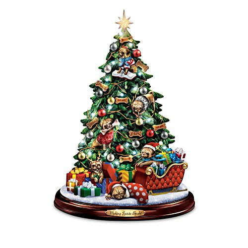 Pug Christmas Illuminated Tabletop Tree