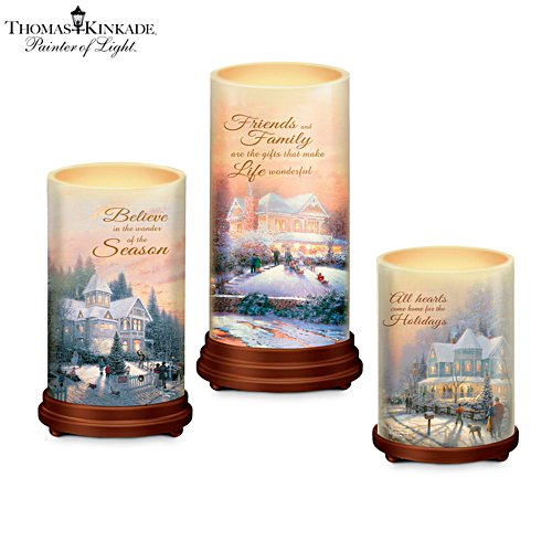 Thomas Kinkade 'Pillars Of Light' Flameless Candle Set
