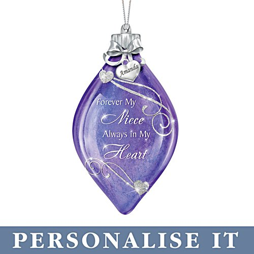'Forever My Niece, Always In My Heart' Personalised Illuminated Ornament