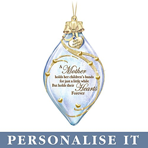 'A Mother Holds Her Child's Heart' Personalised Illuminated Ornament