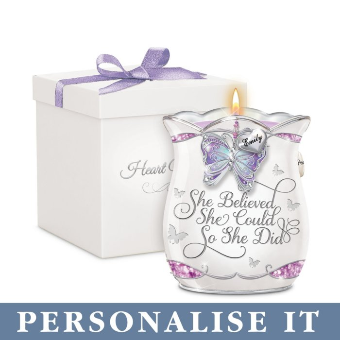 'She Believed She Could' Personalised Candleholder