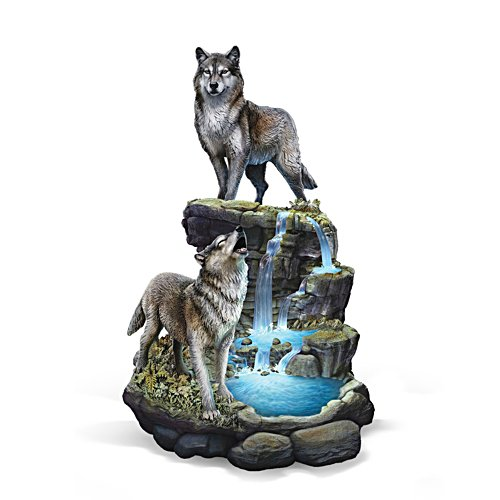 Al Agnew 'Cascading Waters' Illuminated Wolf Sculpture