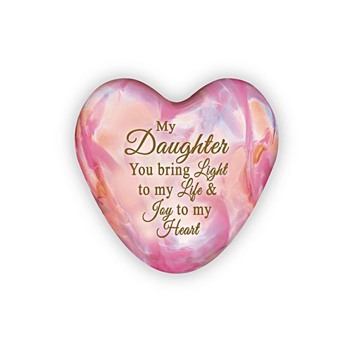 'Daughter, You Light Up My Life' Illuminated Heart Sculpture