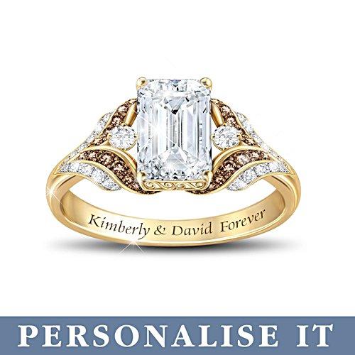 'Love Of My Life' Diamond & White Topaz Personalised Ring