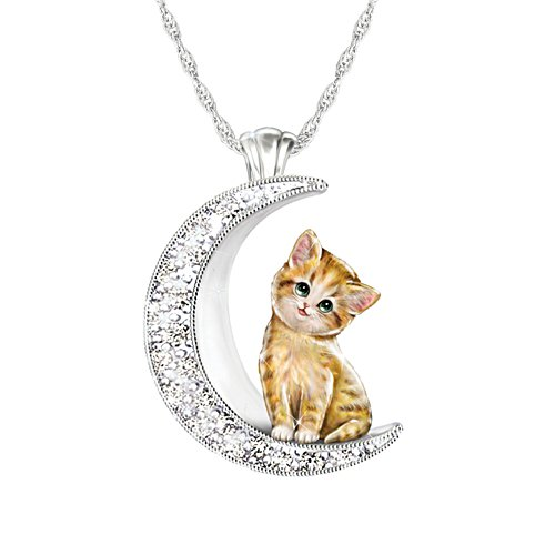 'My Beloved Kitten' Yellow Tabby Cat Moon Ladies' Pendant