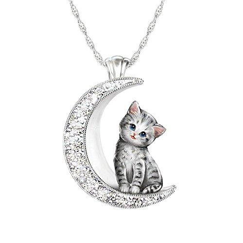 'My Beloved Kitten' Grey Cat Moon Ladies' Pendant