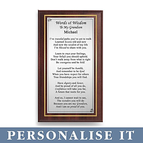 'Grandson's Words Of Wisdom' Personalised Wall Décor